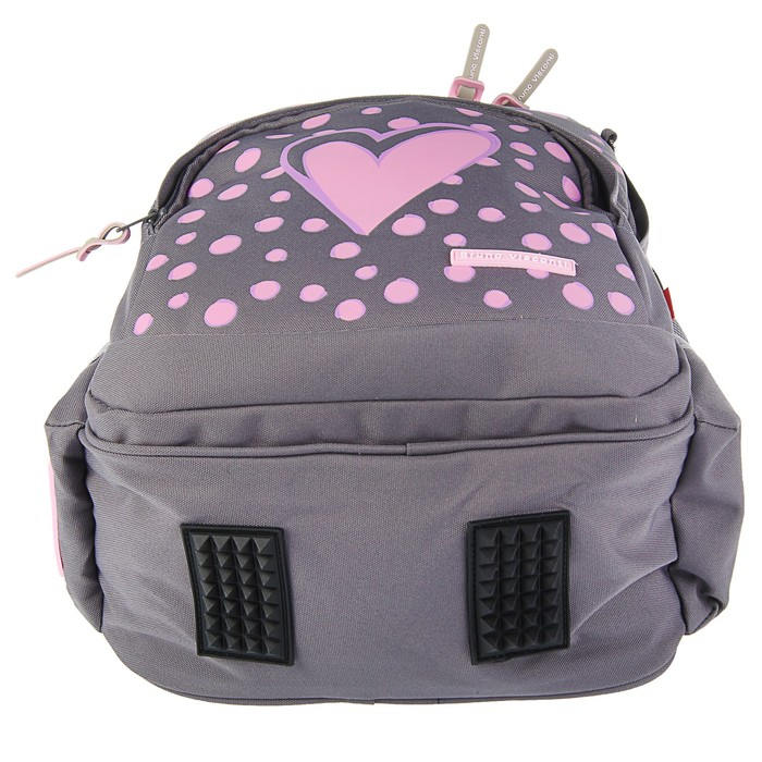 Рюкзак школьный Bruno Visconti, 40 х 30 х 16 см, эргономичная спинка, «Сердце», серый
