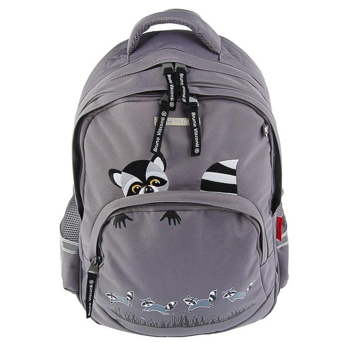 Рюкзак школьный Bruno Visconti, 40 х 30 х 16 см, эргономичная спинка, «Еноты», серый