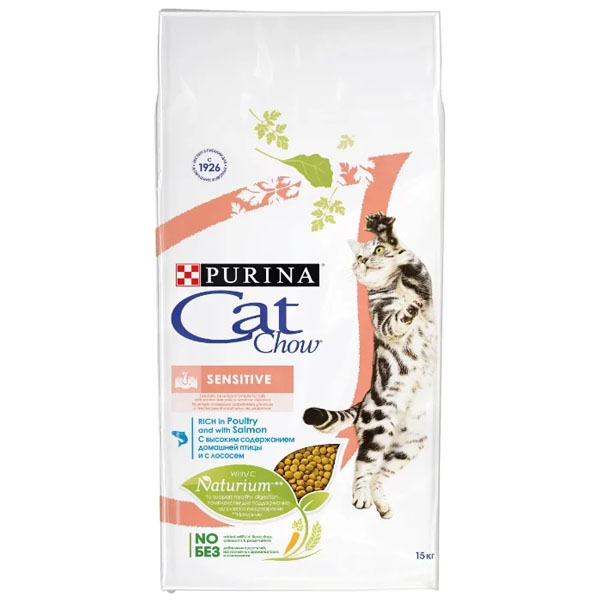 Сухой корм Cat chow Adult Sensitive для кошеек с чувствительным пищеварением с лососем 15 кг