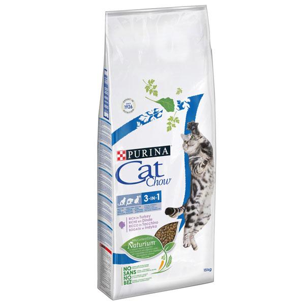 Сухой корм Cat chow с формулой 3 в 1  для взрослых кошек с формулой с индейкой 15 кг