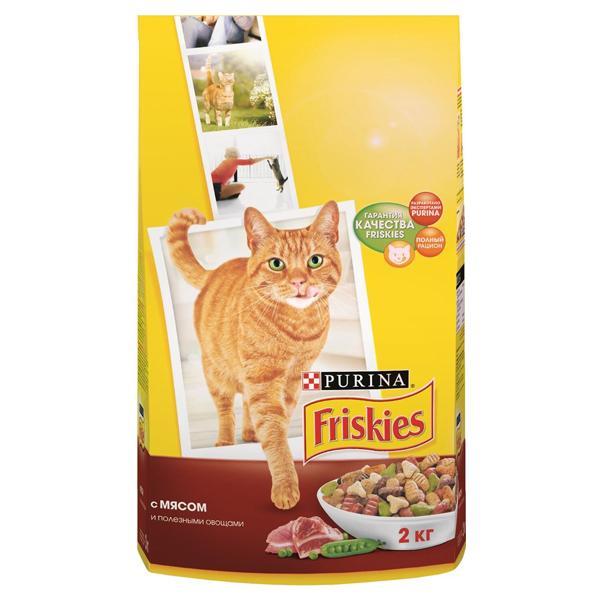 Сухой корм Friskies для взрослых кошек с мясом и полезными овощами 2 кг