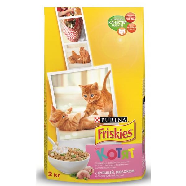 Сухой корм Friskies для котят с курицей, молоком и овощами 2 кг