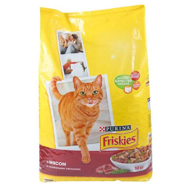 Сухой корм Friskies для взрослых кошек с мясом и полезными овощами 10 кг