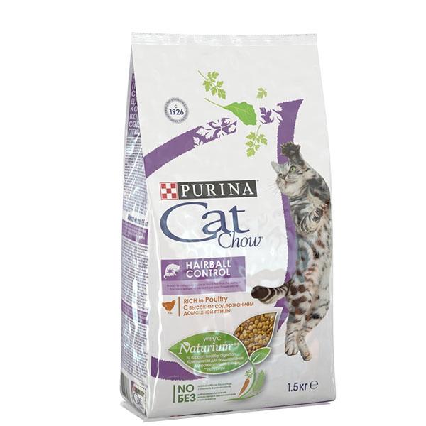 Сухой корм Cat chow Adult Hairball Control для контроля образования комков шерсти 1,5 кг