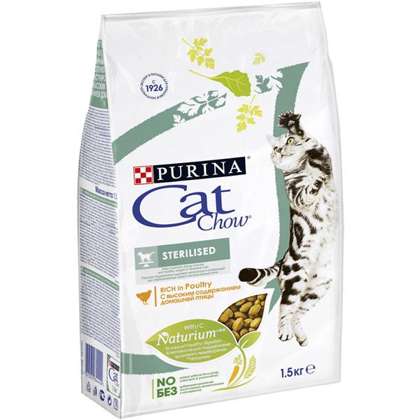 Сухой корм Cat chow Sterilised для стерилизованных кошек и кастрированных котов 1,5 кг
