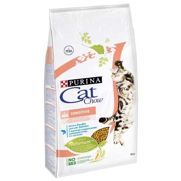 Сухой корм Cat chow Adult Sensitive для кошек с чувствительным пищеварением с лососем 1,5 кг