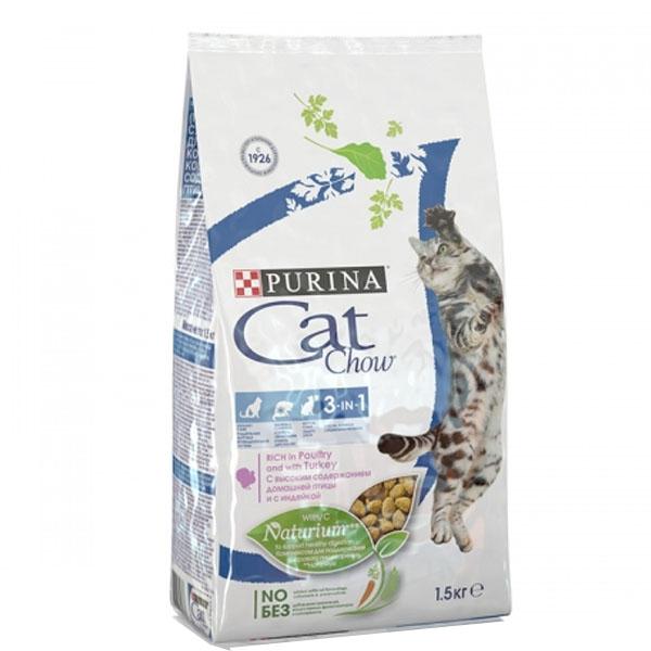 Сухой корм Cat chow с формулой 3 в 1  для взрослых кошек с формулой с индейкой 1,5 кг
