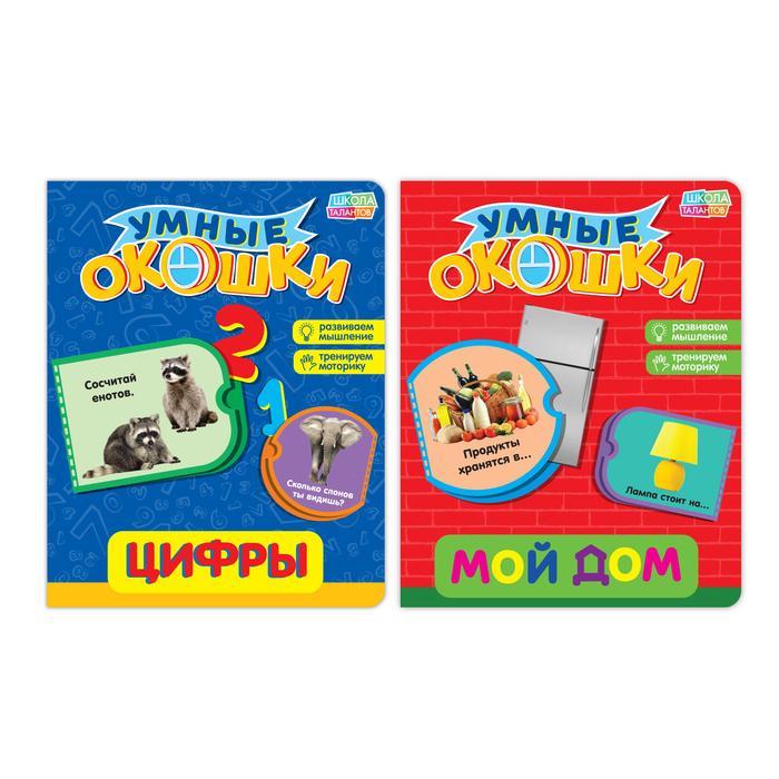 Книги с 3 окошками картонные набор из 2 шт №1 10 стр.