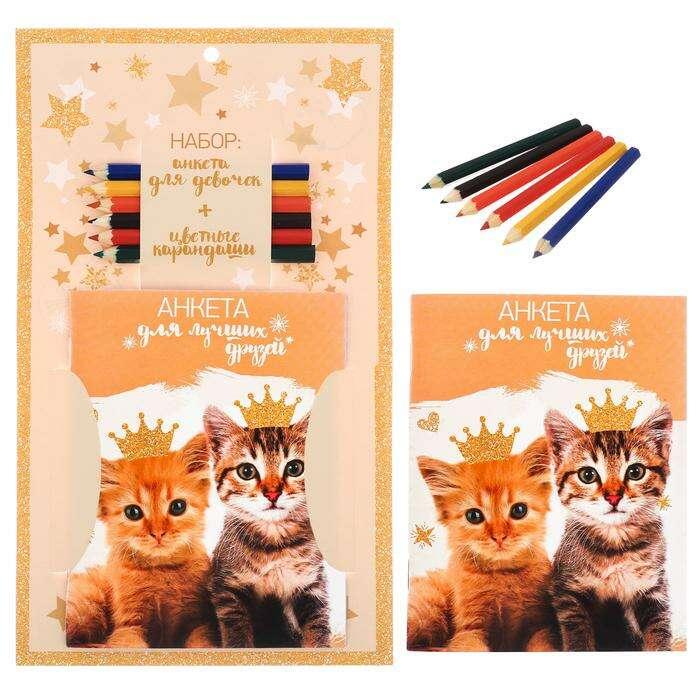 "Набор ""Котята"": анкета для девочек, А6, 32 страницы и карандаши, 6 шт. (+карандаши)"
