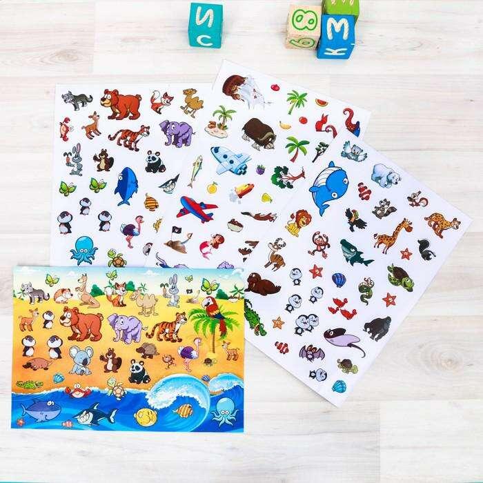 Развивающая игра с наклейками «Любимые животные», 103 наклейки