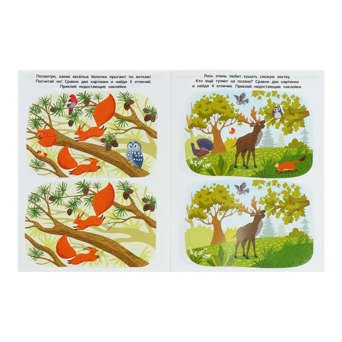 Развивающая книжка с многоразовыми наклейками «В лесу»