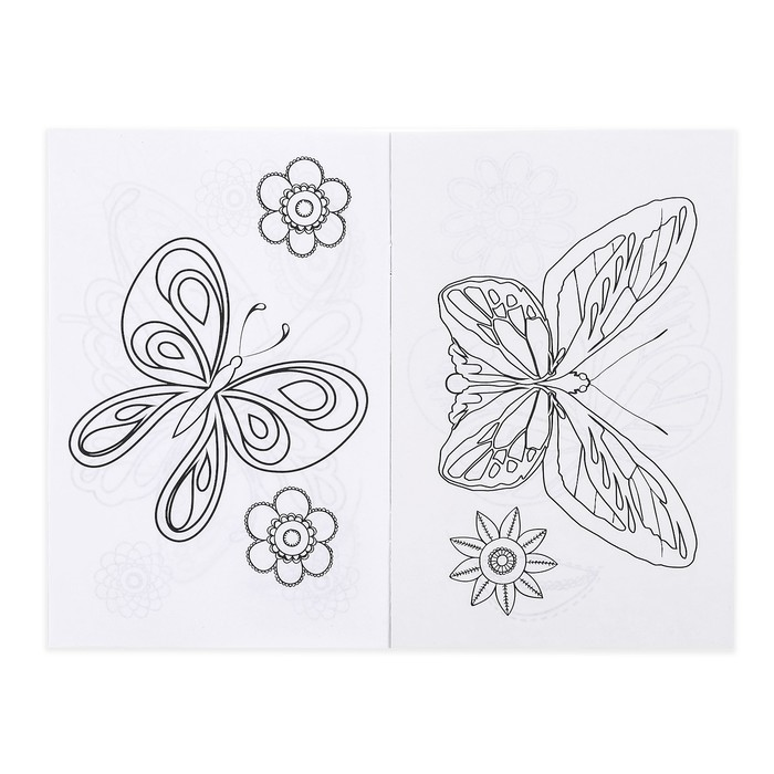 Раскраска с наклейками «Бабочки», 12 стр.