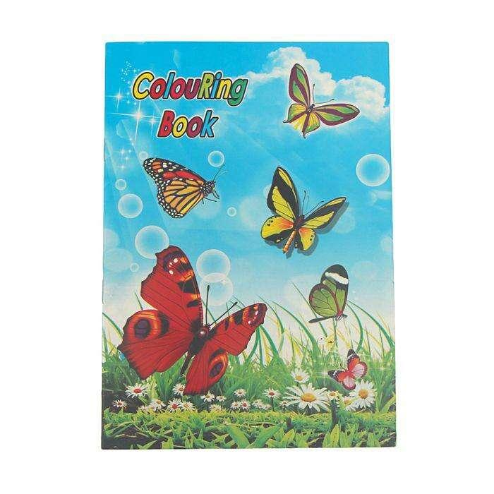 Раскраска, формат А5, 10 листов, с наклейками, «Бабочки» 10 листов с наклейками Бабочки