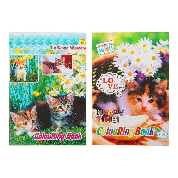 Раскраска, формат А5, 10 листов, с наклейками, «Котята», МИКС 10 листов с наклейками Котята МИКС