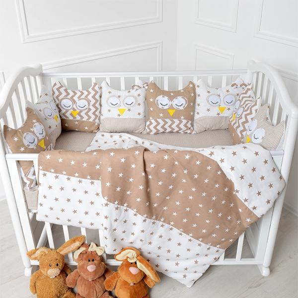 Комплект в кроватку Patrino Совы без балдахина коричневый