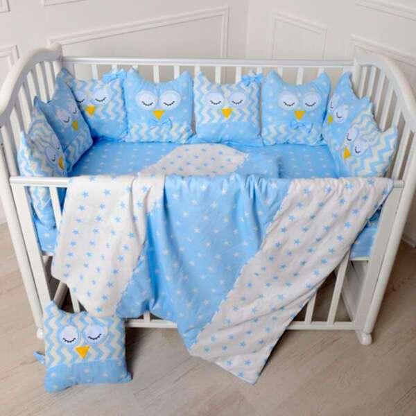 Комплект в кроватку Patrino Совы без балдахина голубой