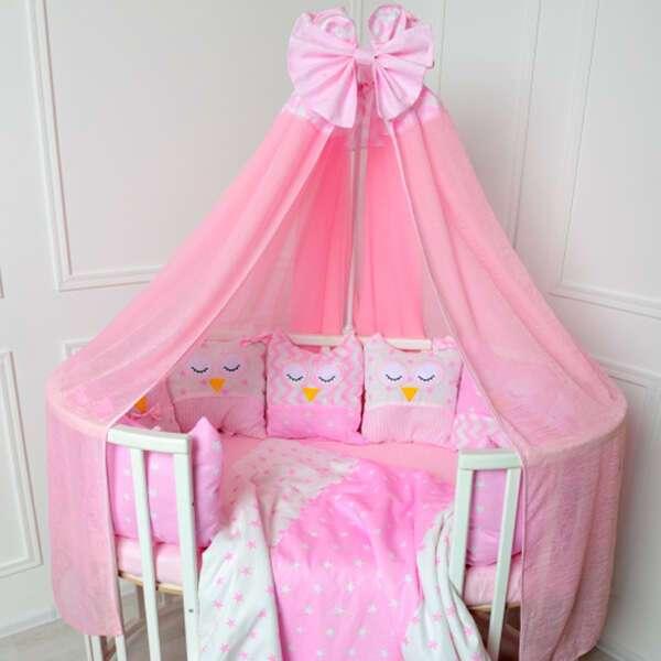 Комплект в кроватку Patrino Совы без балдахина розовый