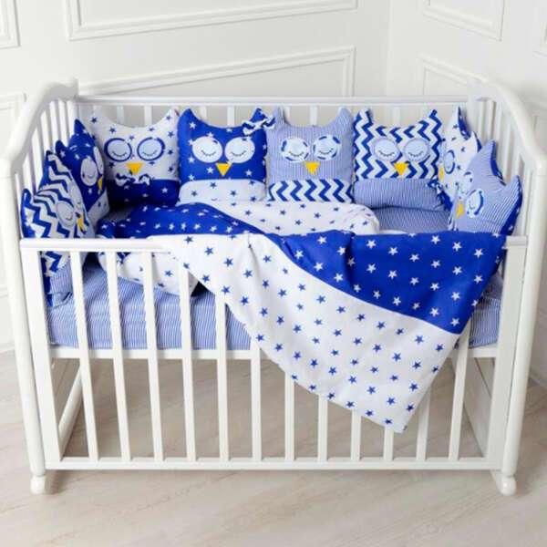 Комплект в кроватку Patrino Совы без балдахина синий