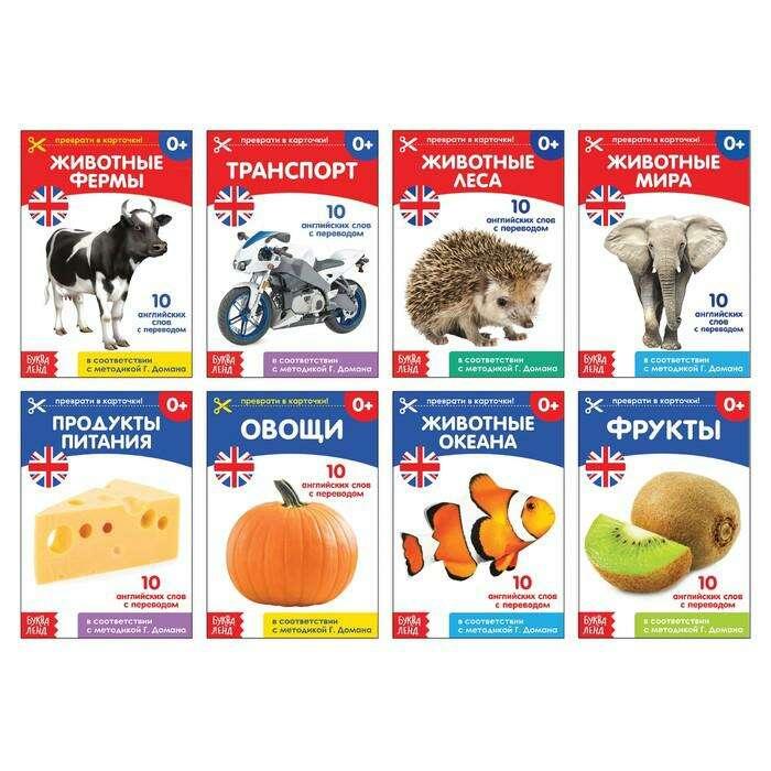 Книги набор «Карточки Домана на английском языке», 24 стр. по методике Г. Домана на английском языке, 24 страницы