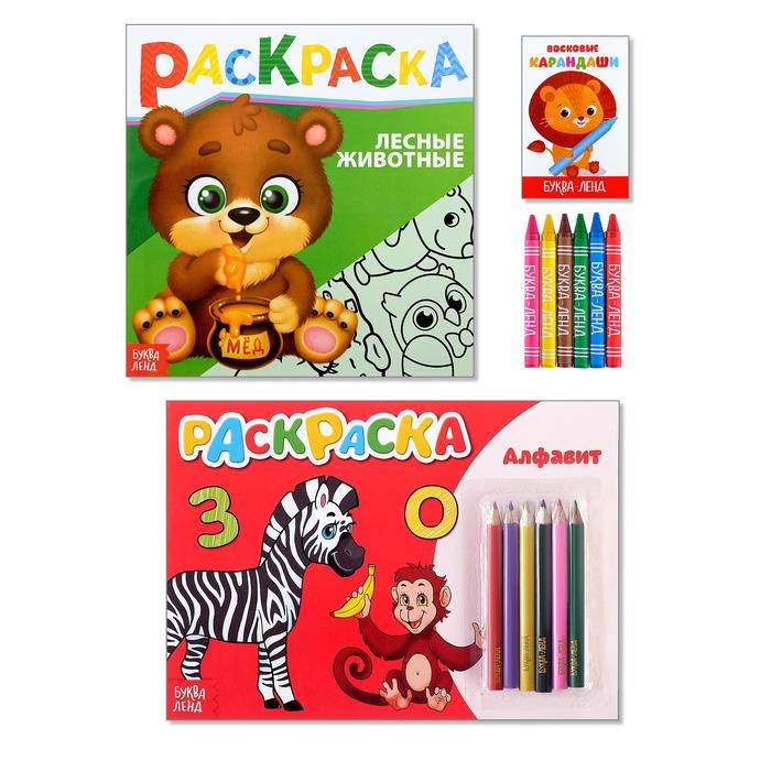 Раскраски с цветными и восковыми карандашами набор «Учим алфавит и животных», 2 шт по 16 стр.