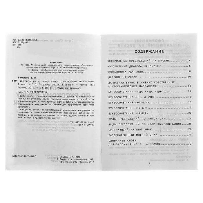 Учусь на отлично! Диктанты по русскому языку с наглядными материалами: 1 класс