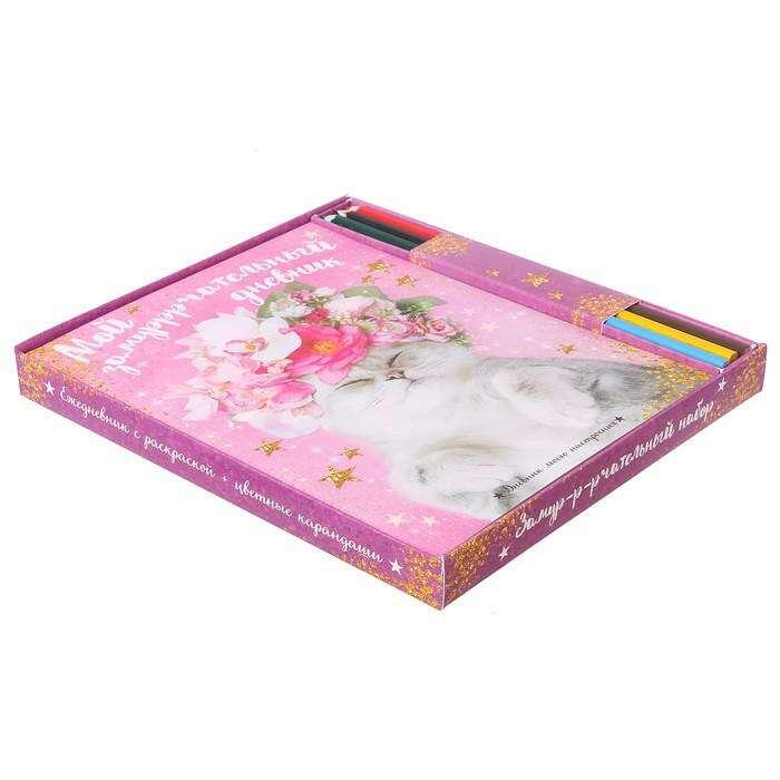 """Подарочный набор """"Мечтай без границ"""": смешбук с раскраской и карандаши, 6 шт."""
