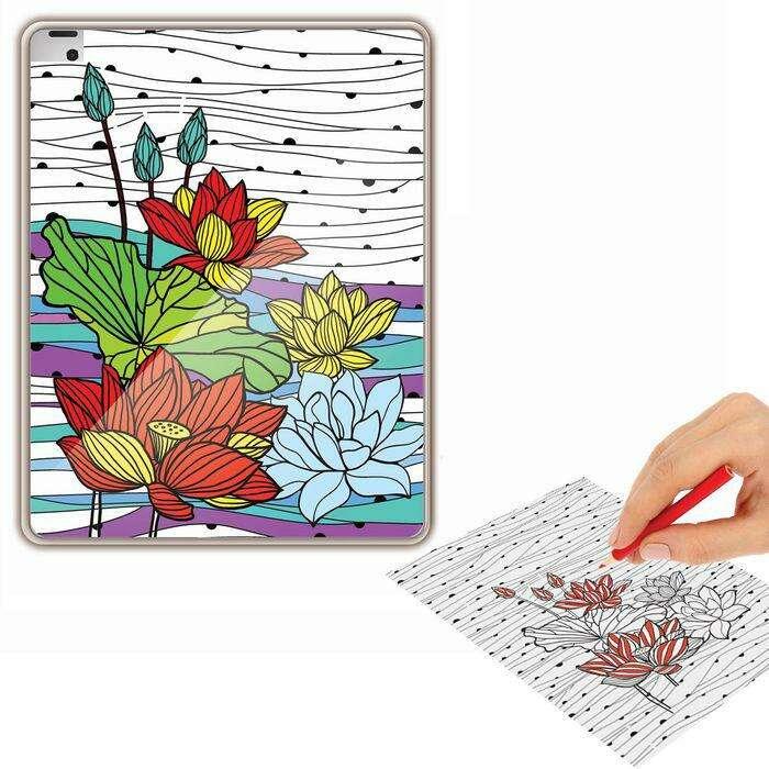 """Раскраска антистресс, чехол для планшета """"Цветочные узоры"""" """"Цветочные узоры"""""""