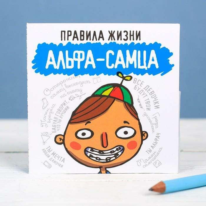 """Книжка - открытка «Правила жизни альфа самца», 10 × 10 см """"Правила жизни альфа самца"""""""
