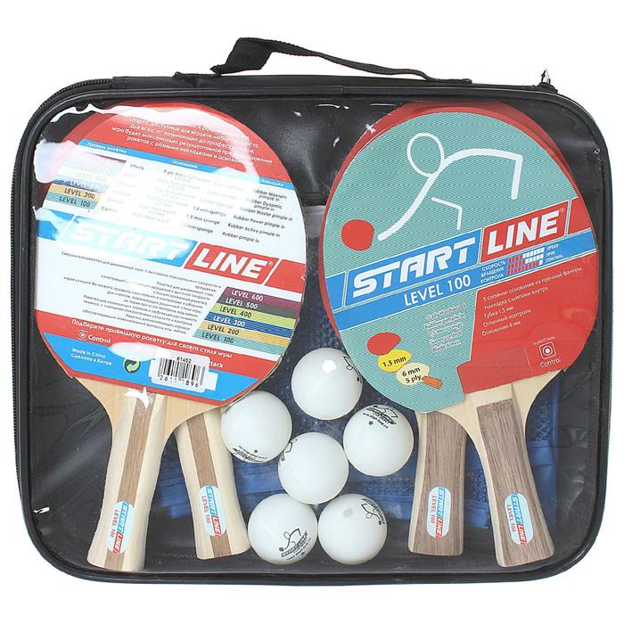 Набор для настольного тенниса, 4 ракетки Level 100, 6 мячей Club Select, сетка с креплением