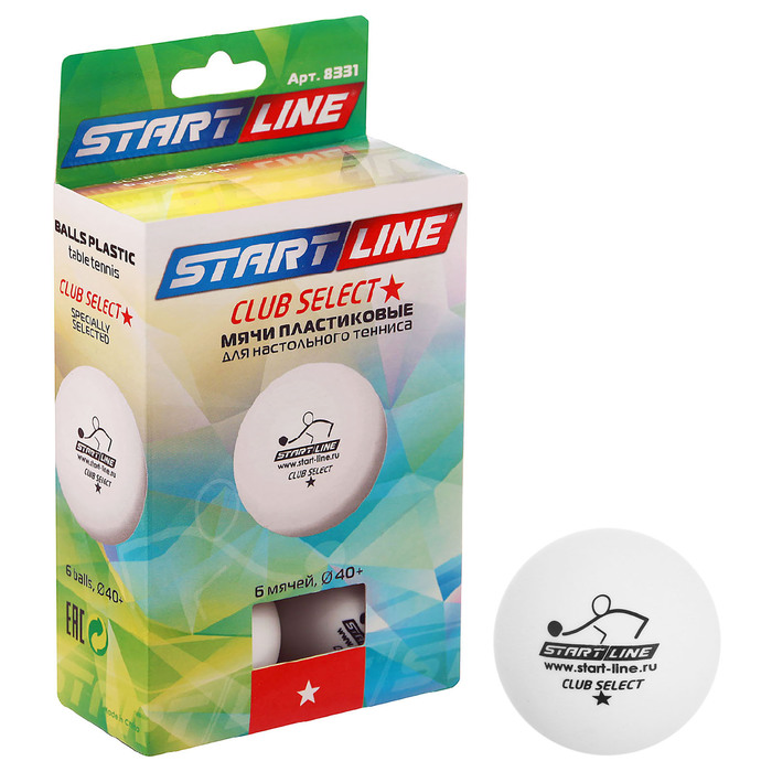 Мяч для настольного тенниса Start line Club Select, 1 звезда, набор 6 штук, цвет белый