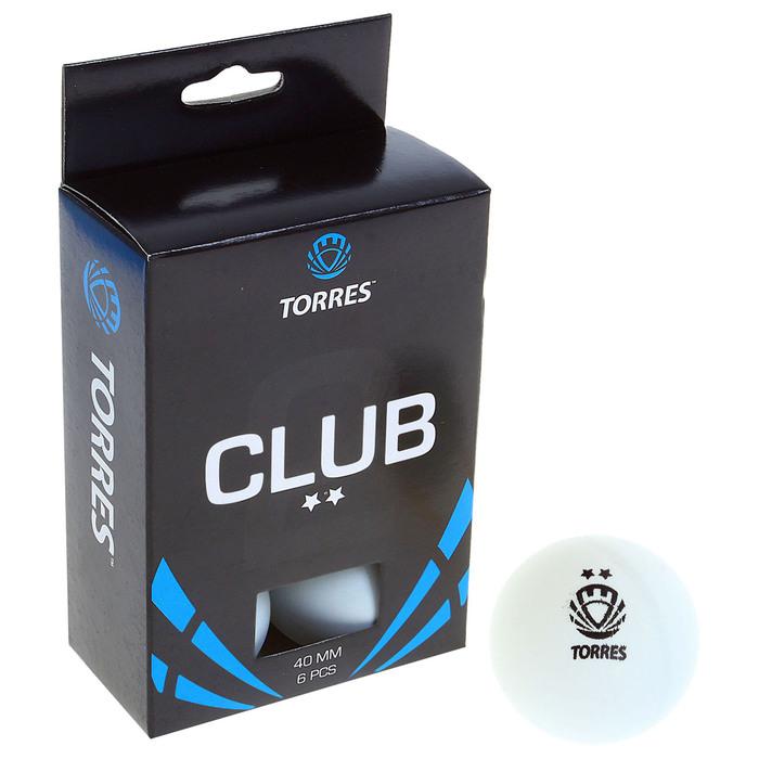 Мяч для настольного тенниса Torres Club, 2 звезды, набор 6 штук, цвет белый