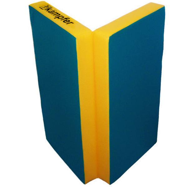 Гимнастический мат Kampfer  №4 (100 х 100 х 10) складной, синий/желтый
