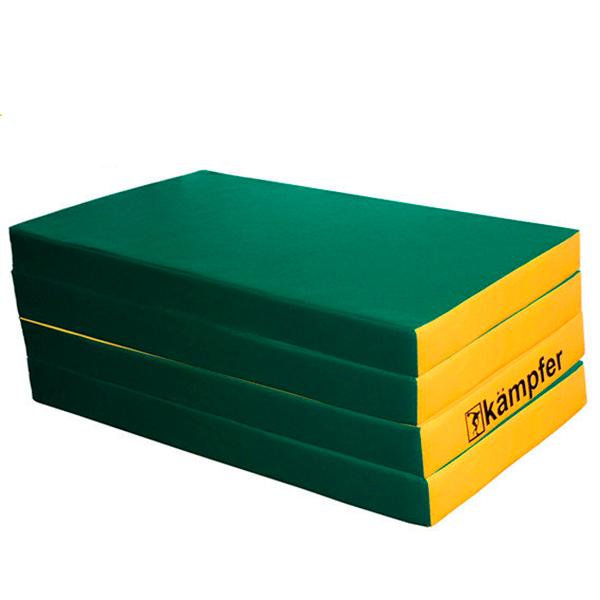 Гимнастический мат Kampfer №7 (200 х 100 х 10) складной зеленый/желтый