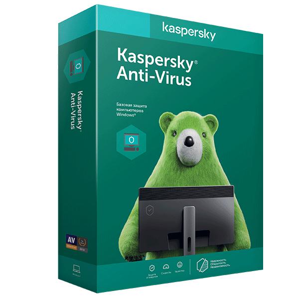 Электронный ключ Kaspersky Anti-Virus на 12 месяцев, 2 устройства (Продление)