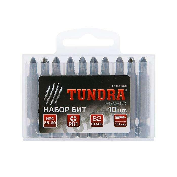 Набор бит TUNDRA basic, сталь S2, 10 шт, 50 мм, PH1