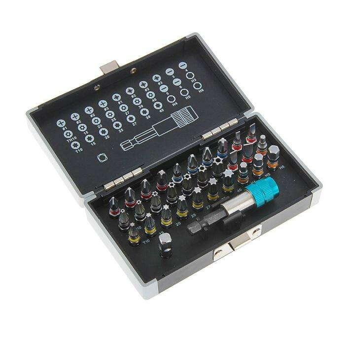 Набор бит Gross с магнитным адаптером, сталь S2, пластиковый кейс, 32 предмета