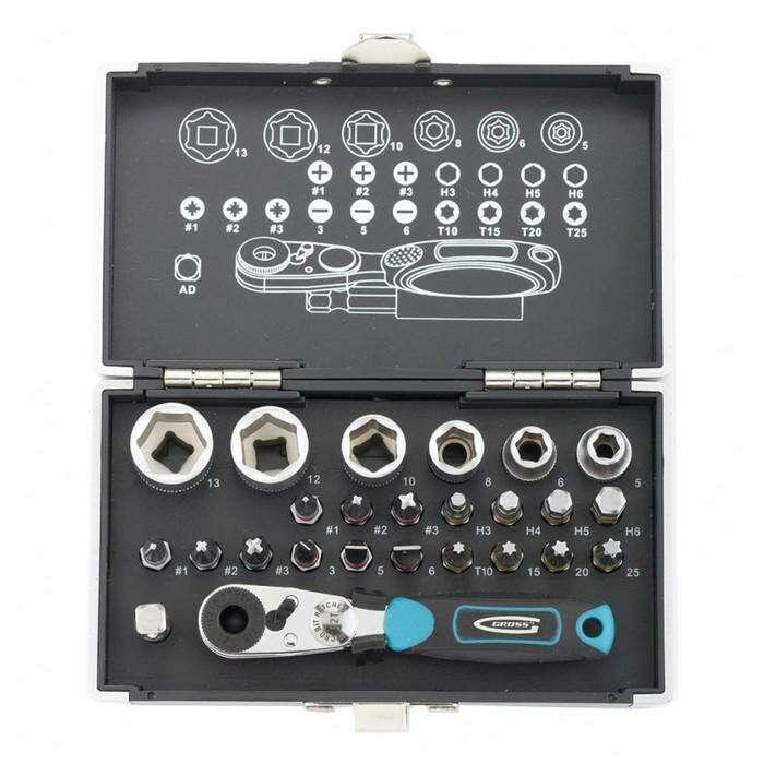 """Набор бит и головок торцевых GROSS, 1/4"""", магнитный адаптер, сталь S2, кейс, 26 предметов"""