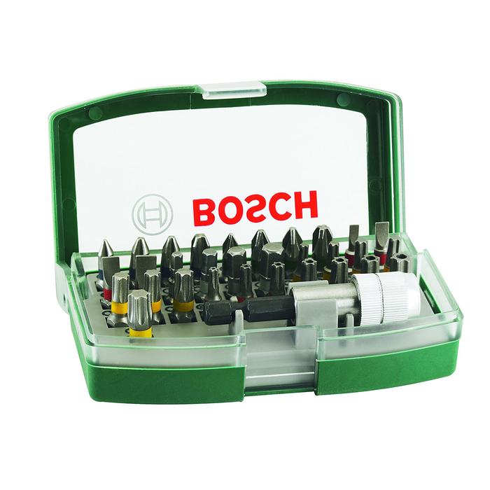 Набор бит Bosch 2607017063, 32 предмета, односторонние, внешний шестигранник, держатель бит   456246