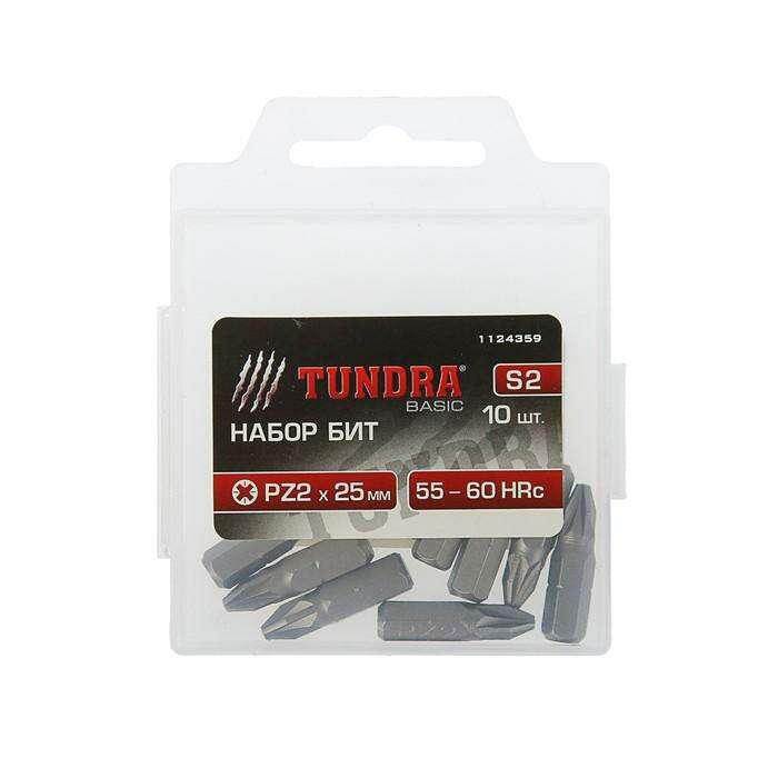 Набор бит  TUNDRA basic, сталь S2, 10 шт, 25 мм, PZ2