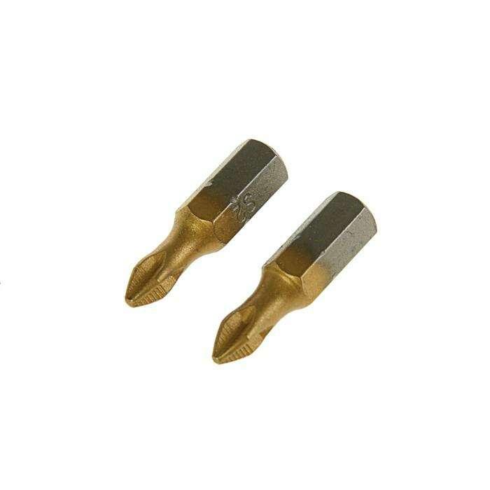 Набор бит TUNDRA premium, сталь S2, нитрид-титановое покрытие, 2 шт, 25 мм, PH1