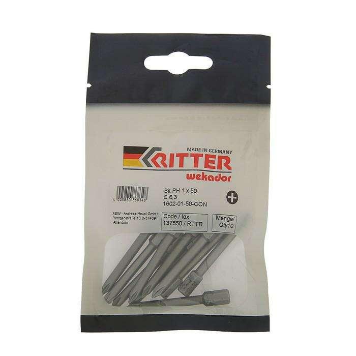 """Бита Ritter """"Wekador"""", PH1x50мм, Германия, высокопр. сталь, 67HRC, обработка""""Cool Nitrogene"""""""