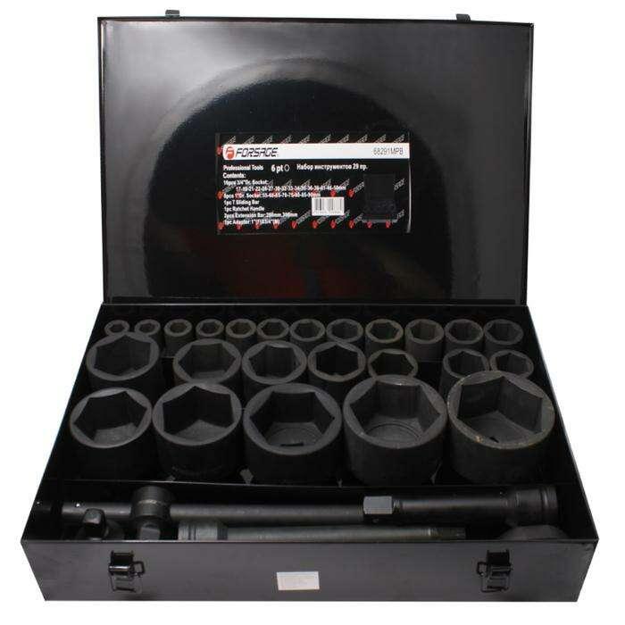 """Набор инструментов Forsage F-68291MPB, 3/4"""", 1"""", головки ударные 6гр 17-90 мм, 29пр., кейс"""