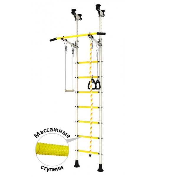 Шведская стенка Romana ДСК Распорный с регулировкой (Белый/Желтый)