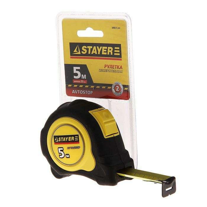 """Рулетка STAYER """"MASTER"""" Autolock, обрезиненный корпус, 5мх25мм"""