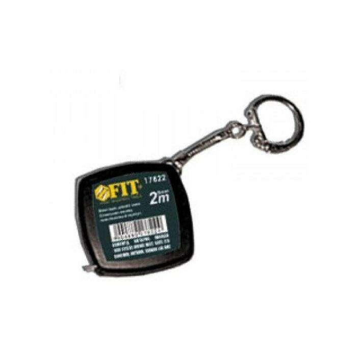 Рулетка-брелок FIT, 2 м, черная, квадратная