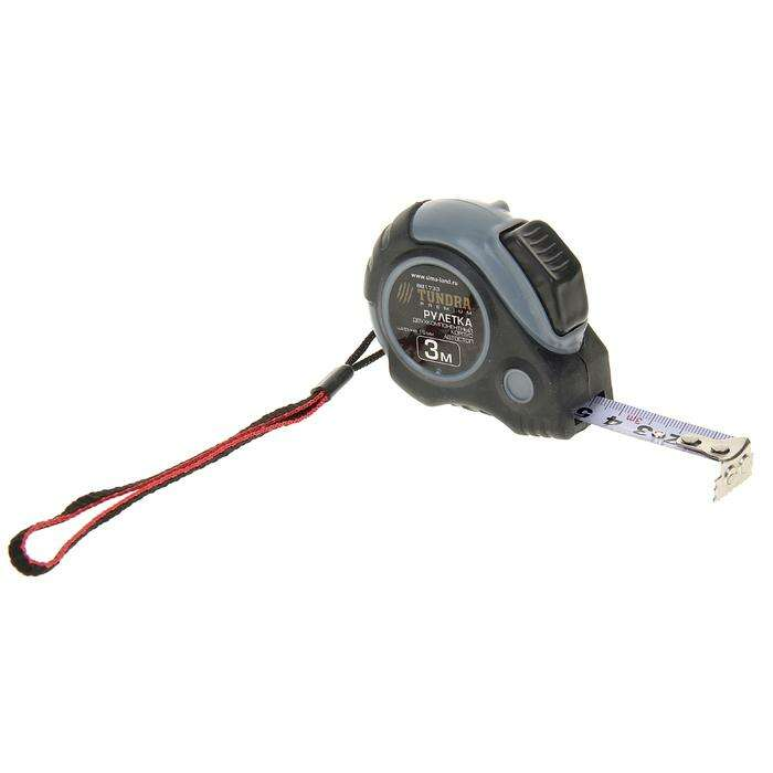 Рулетка TUNDRA premium, двухкомпонентный корпус, автостоп, 3м х 16 мм, магнитный зацеп