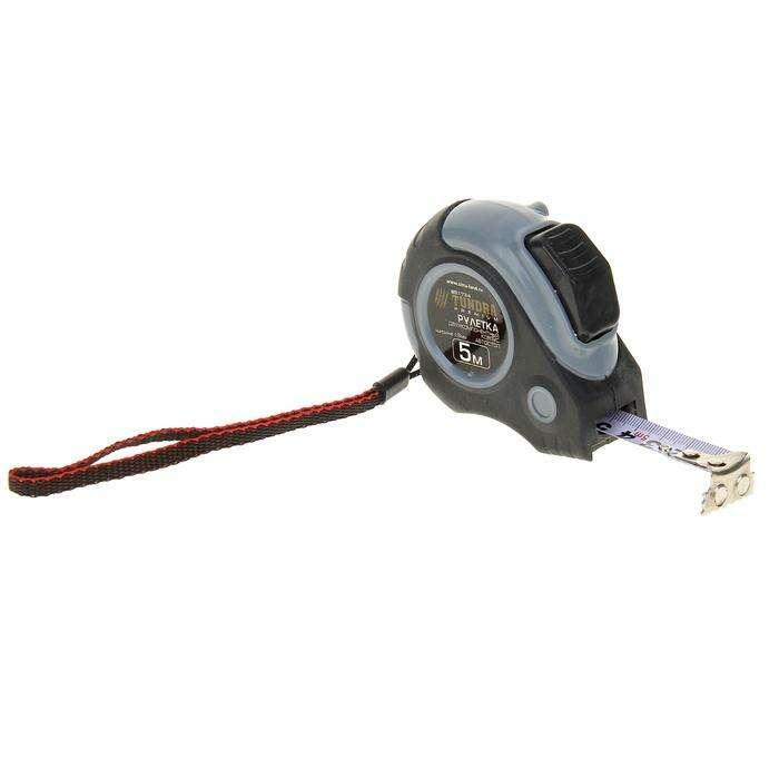 Рулетка TUNDRA premium, двухкомпонентный корпус, автостоп, 5м х 19 мм, магнитный зацеп