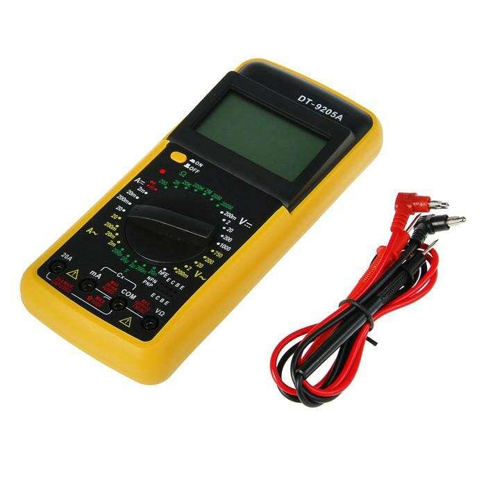 Мультиметр DT-9205А, ACV 0.2-750V, DCV 0.2-750V, 200-200МОм, 2мА-20А