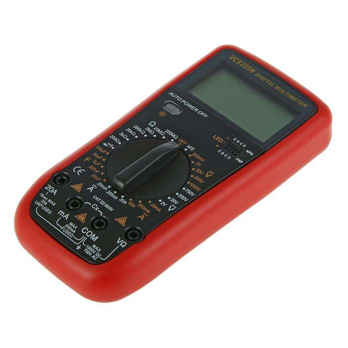 Мультиметр TUNDRA VC9205N, ACV 2-750V, DCV 0.2-1000V, 200-200МОм, 0.2мА-20А