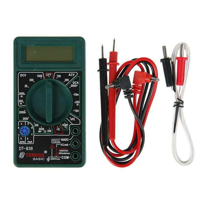 Мультиметр TUNDRA basic, DT-838, ACV 200-750V, DCV 0.2-1000V, 0.2мА-200мА, прозвон, TEMP C°